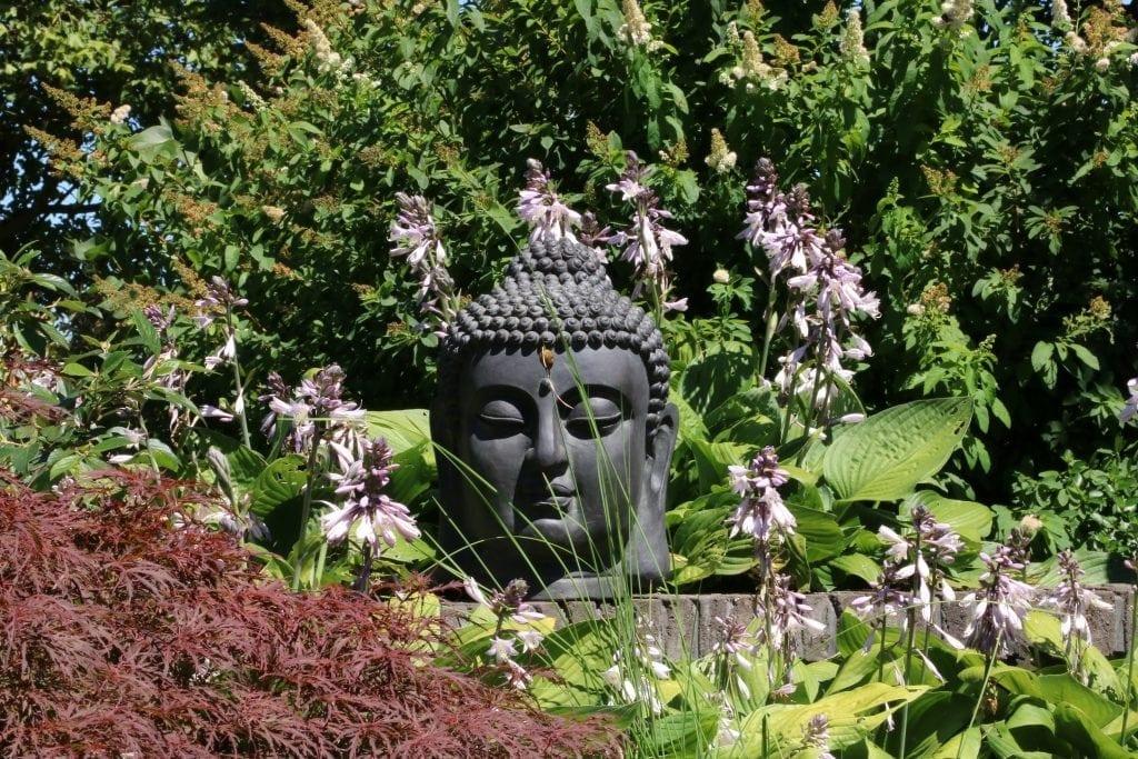 boeddha hoofd 45 cm fibre clay thuis in de tuin