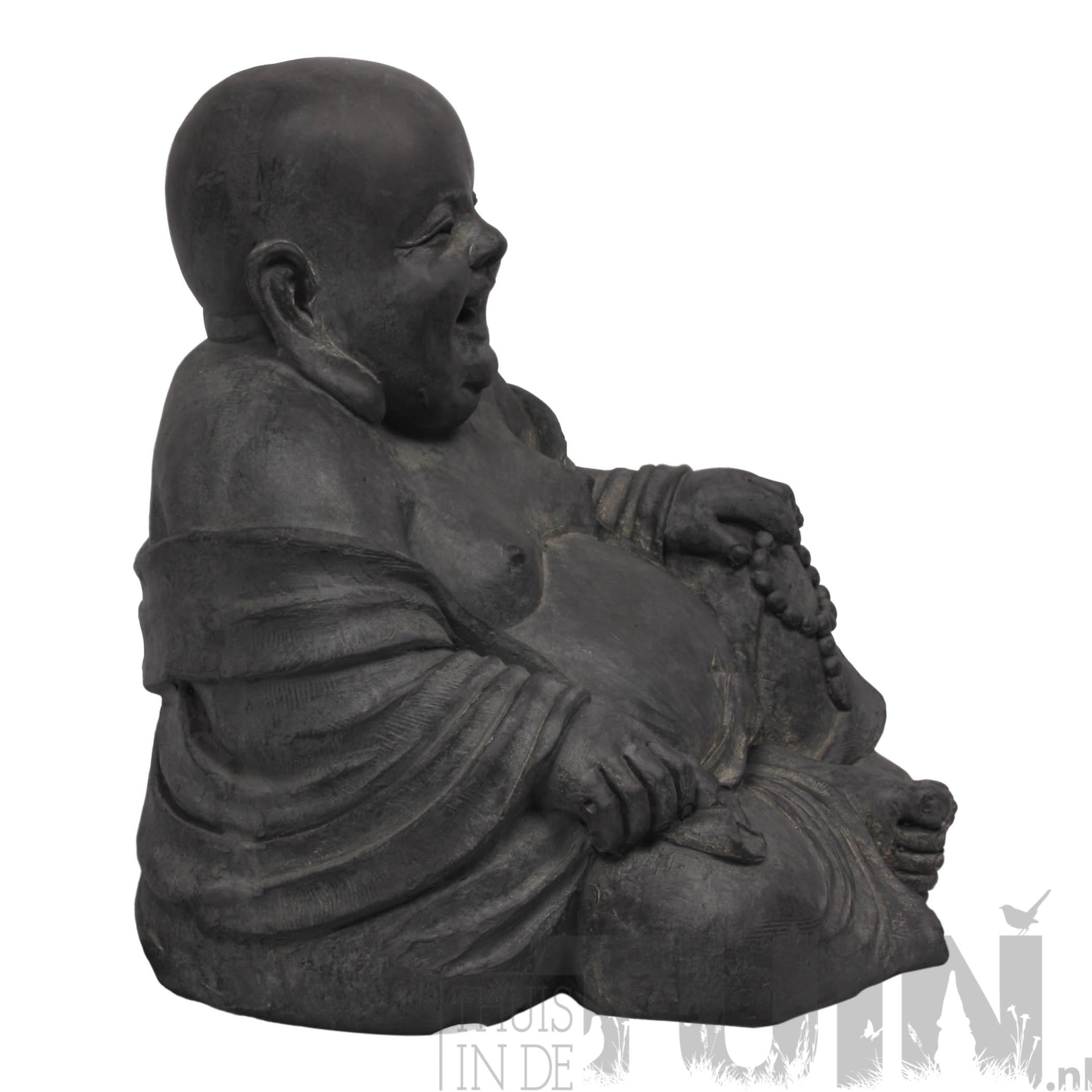 lachende boeddha dikbuik antraciet boeddhabeelden