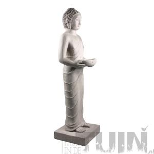 beeld boeddha staand licht grijs thuisindetuin