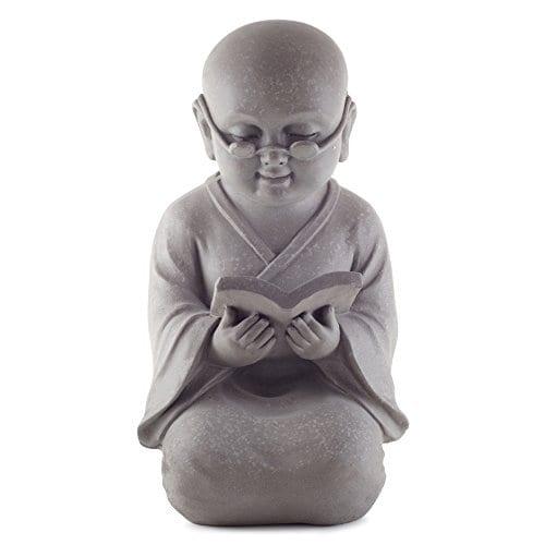 boeddha shaolin monnik tuinbeeld met boek