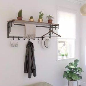 wandkapstok DeLuxe – XL – Garderobe – Hoedenplank met 8 Haken – Industrieel – 110 x 30 x 27 cm