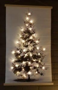 kerstboom op doek met lampjes groot