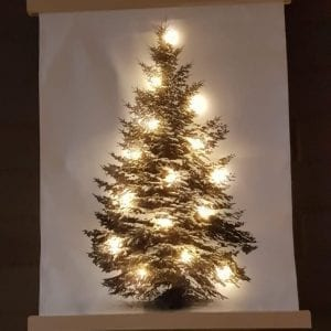 WANDDECORATIE CANVAS KERSTBOOM LED