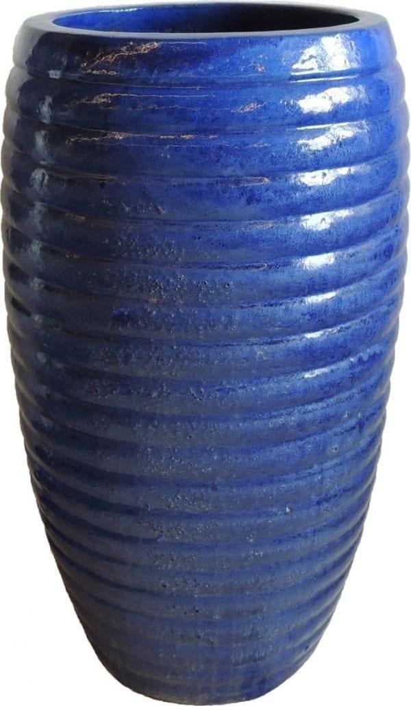 hoge bloempot blauw glazuur keramiek thuisindetuin.nl 01